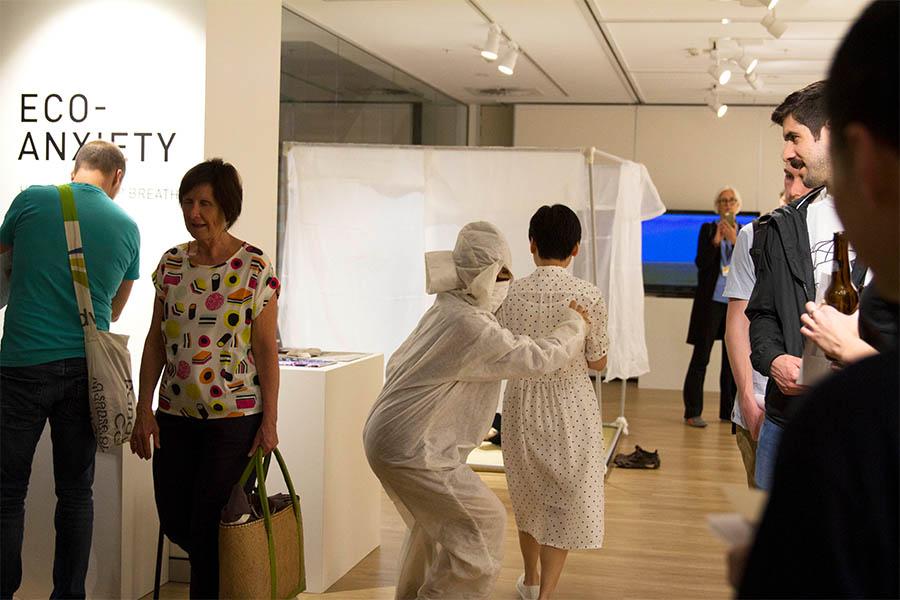 Yumi Umiumare's AnxieTEA popup tearoom installation at The Japan Foundation, Sydney gallery.