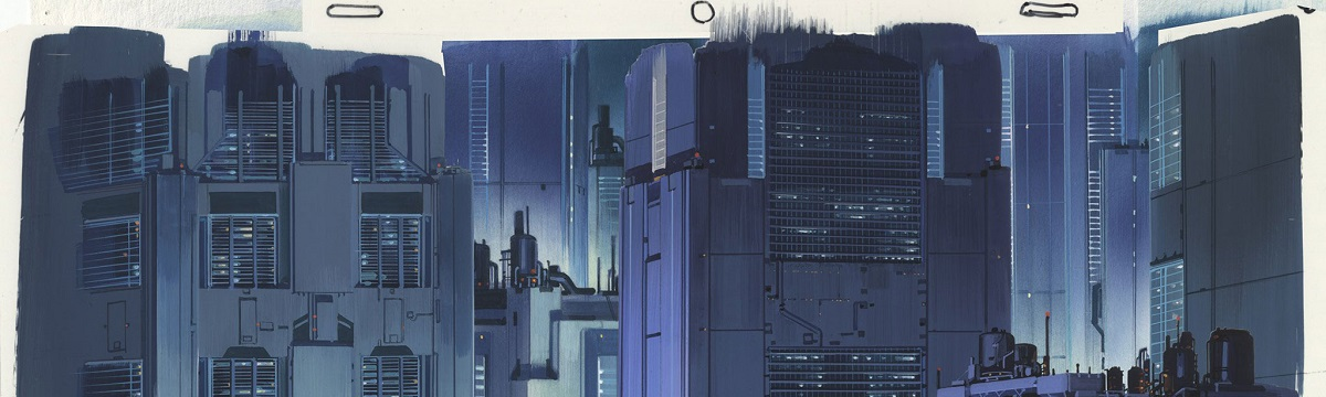 Background illustration for Ghost in the Shell (1995), cut 477 Watercolour on paper and acrylic on transparent film 270 × 390mm Illustrator: Hiromasa Ogura Copyright: © 1995 Shirow Masamune / KODANSHA · BANDAI VISUAL · MANGA ENTERTAINMENT Ltd.